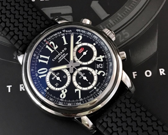 Chopard Mille Miglia Classic Chronograph 42mm. All seals intact. Like new condition. Fullset box and papers (2016). IDR 27jt.
