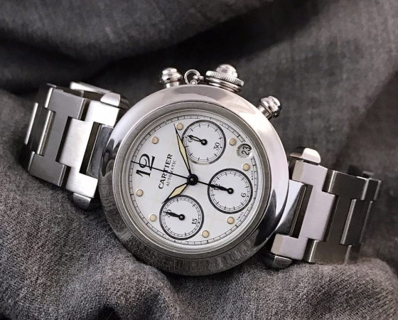 Cartier Pasha de Cartier 2412 Automatic Chronograph Boysize 35mm. Mint condition. Watch only. IDR 21.5jt