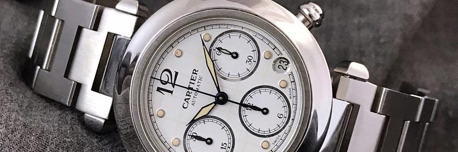 Cartier Pasha de Cartier 2412 Automatic Chronograph Boysize 35mm. Mint condition. Watch only. IDR 21.5jt