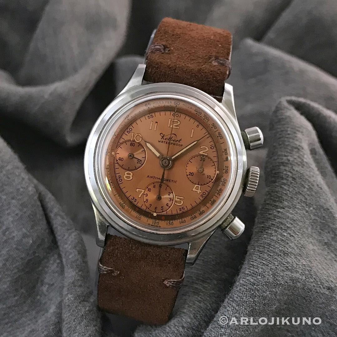 Vintage Kelbert Chronograph 36mm. Valjoux 72 manual wond chronograph. Very nice and clean bronze dial. Movement works perfectly. Price : Whatsapp 08129813008. #kelbert #vintagechronograph #valjoux72 #vintagewatch #chronograph #rolexforsale #jamtangansecond #jamtanganoriginal #jamseken #jamsecond #secondoriginalwatch #preownedwatch #watchporn #watchnerd #jualanbranded