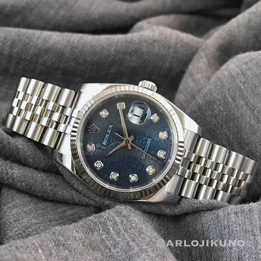 Datejust 116234 Blue Jubilee Diamond Dial 36mm 2007. Mint condition. Paper, no box. IDR 79.5jt. Whatsapp 08129813008. #rolex #datejust #16234 #diamonddial #rolex #seadweller #16600 #rolex #datejust #116234 #rolexdatejust #rolexforsale #jamtangansecond #jamtanganoriginal #jamseken #jamsecond #secondoriginalwatch #preownedwatch #watchporn #watchnerd #jualanbranded